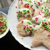 Peppermint Tea Shortbread Cookies dipped in White Chocolate