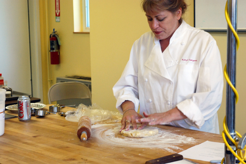 Robyn explains how to roll out pie crust. Taken at King Arthur Flour's Baking Education Center.
