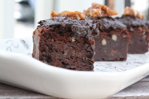 brownies, pecan brittle, bourbon
