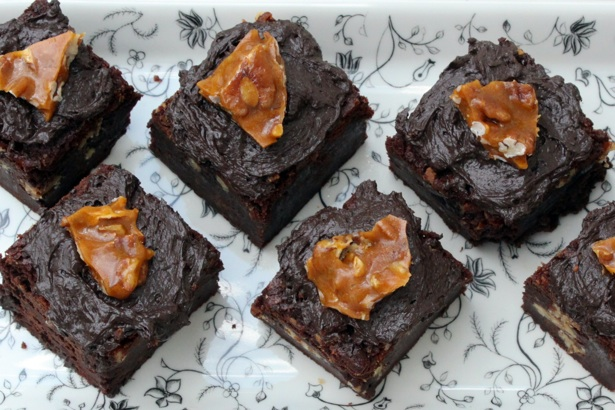 brownies, pecan brittle, bourbon