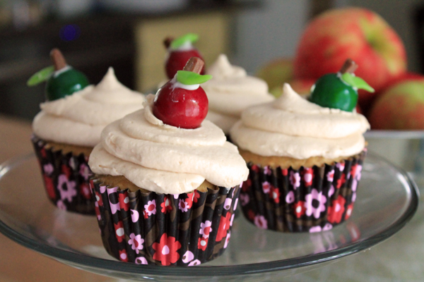 "Post image for ""Apple of Your Eye"" Apple Cider Cupcakes with Salted Caramel Frosting"