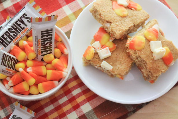Candy Corn White Chocolate Blondies | Bluebonnets & Brownies