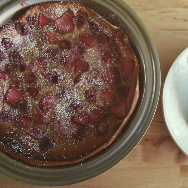 Strawberry and raspberry clafoutis for breakfast!