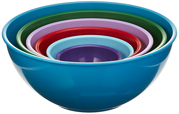 Gourmet Home Products 139714 Nested Polypropylene Mixing Bowl Set,6 Piece, Light Slate